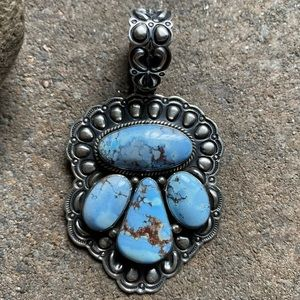 Jewelry - S.S.Golden Hill Turquoise ClusterPendant T.O White